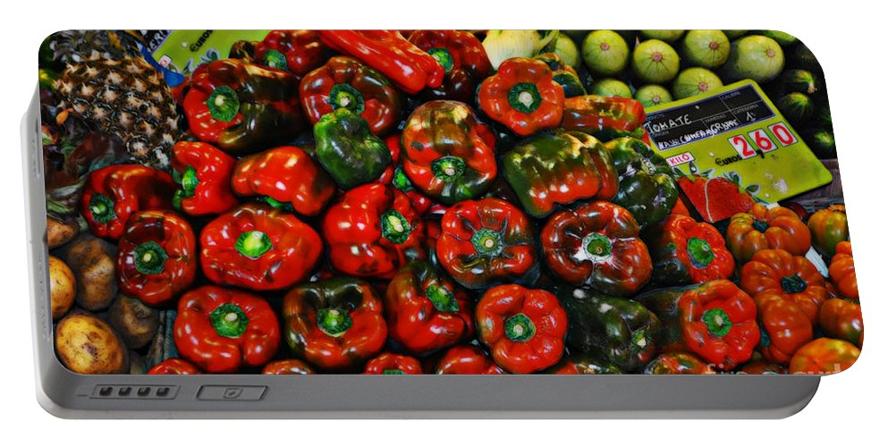 Sweet Red Peppers Portable Battery Charger featuring the photograph Sweet Red Peppers by Mary Machare