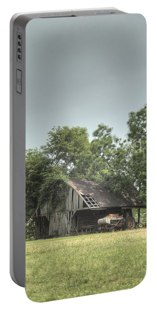Barn Portable Battery Charger featuring the photograph T Barn 1 by Douglas Barnett