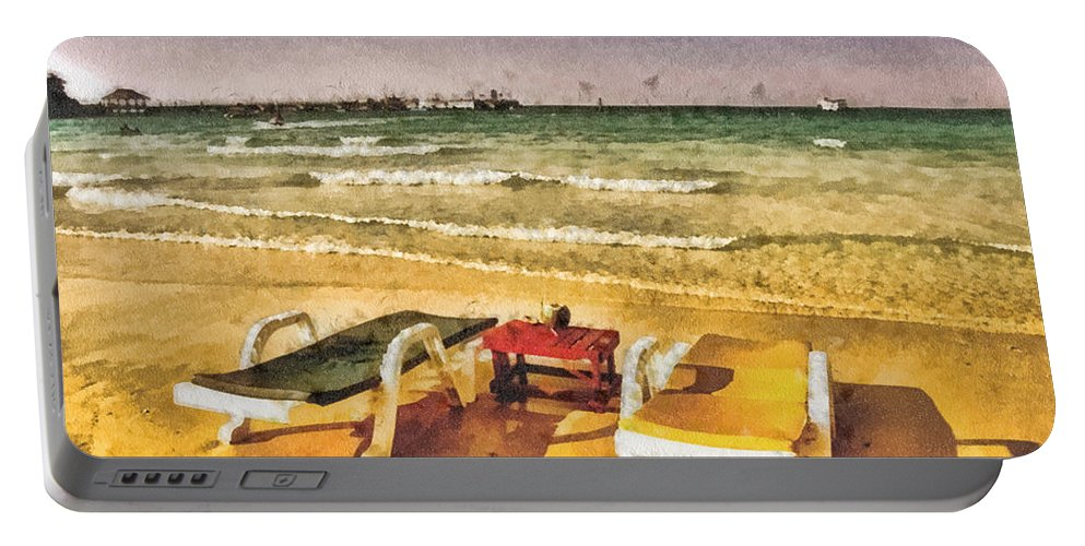 Table For Two Portable Battery Charger featuring the painting Table For Two by Mo T
