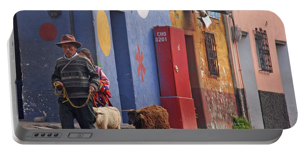 Guatemala. Chichicastenango Portable Battery Charger featuring the photograph Taking Sheep To Market At Chichicastenango by Elizabeth Rose
