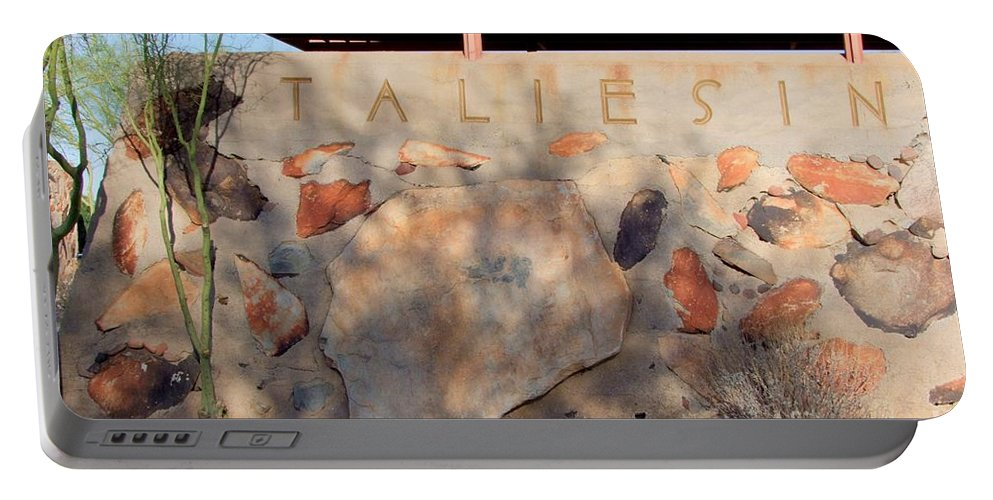 Arizona Portable Battery Charger featuring the photograph Taliesin Entry - Arizona by Mary Deal