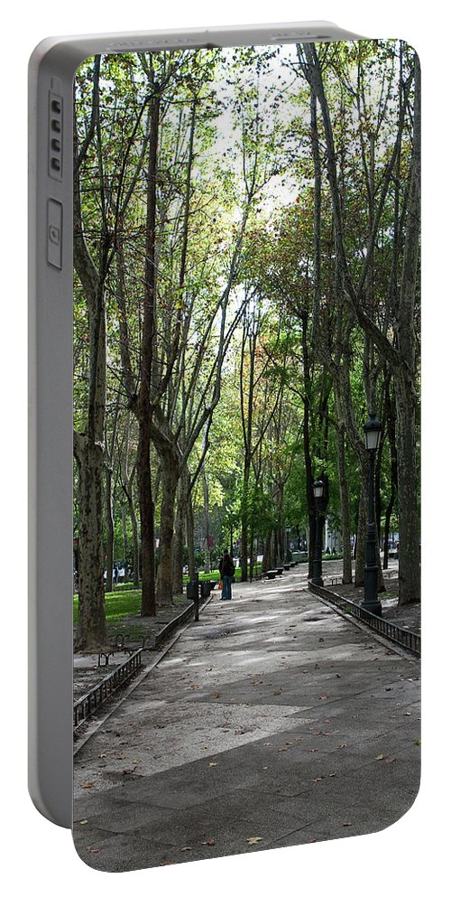 Madrid Portable Battery Charger featuring the photograph Tall Trees Of Madrid by Lorraine Devon Wilke
