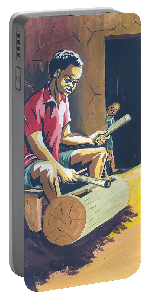 Africa Portable Battery Charger featuring the painting Tambour A Fente by Emmanuel Baliyanga