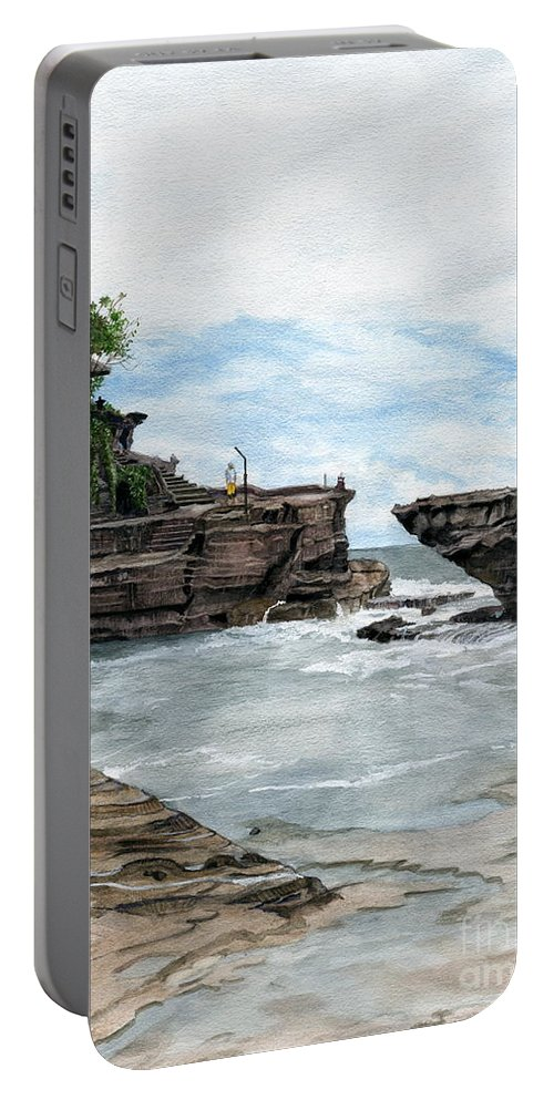 Bali Portable Battery Charger featuring the painting Tanah Lot Temple II Bali Indonesia by Melly Terpening