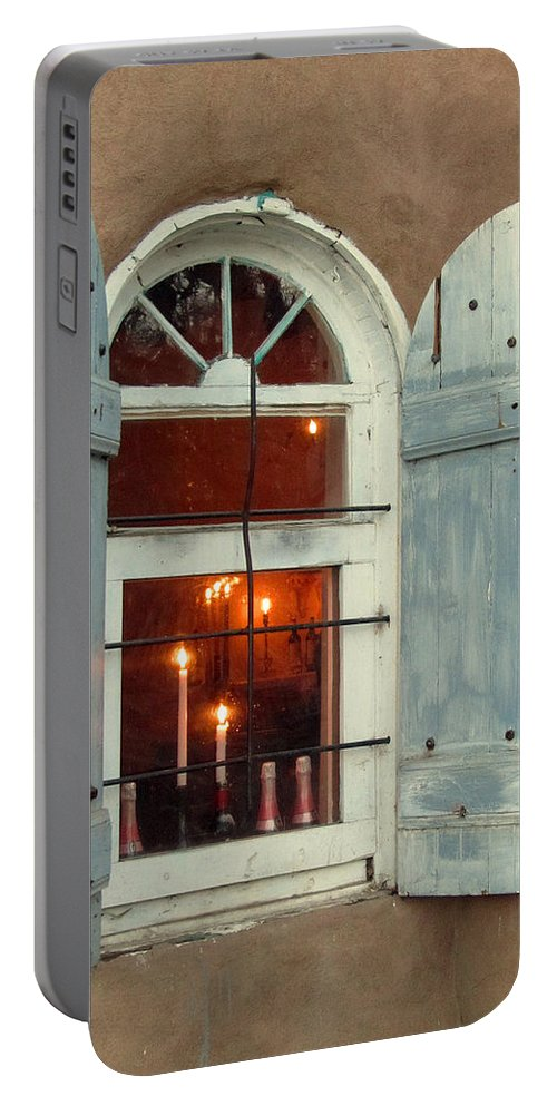Taos Portable Battery Charger featuring the photograph Taos Window With Candlelight by Elizabeth Rose