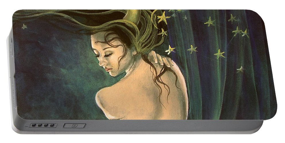 Art Portable Battery Charger featuring the painting Taurus From Zodiac Series by Dorina Costras