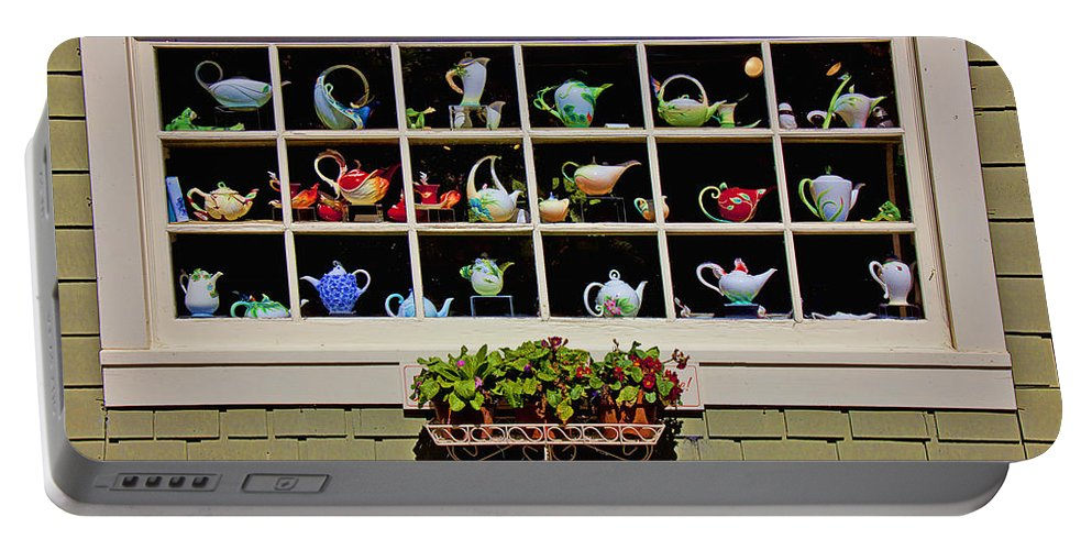 Tea Pots Window Portable Battery Charger featuring the photograph Tea Pots In Window by Garry Gay