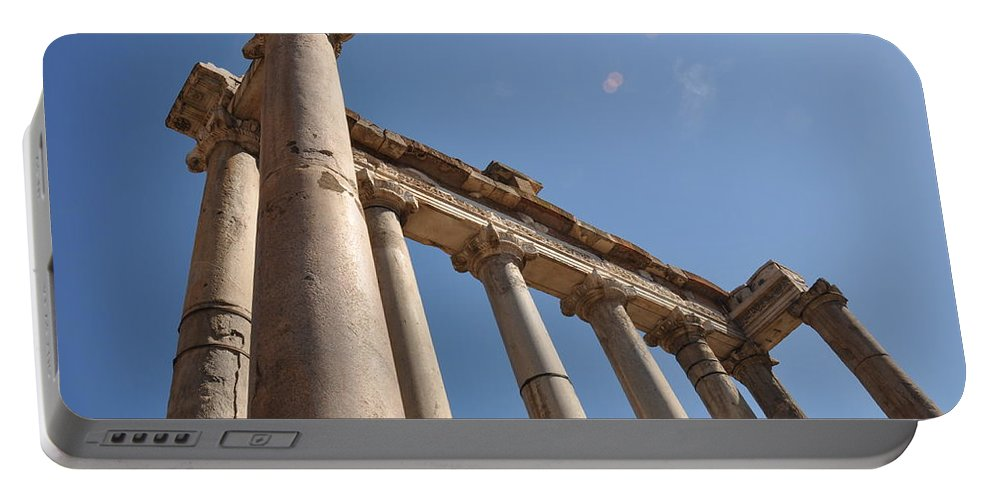 Rome Portable Battery Charger featuring the photograph Temple Of Saturn by Rich Bodane