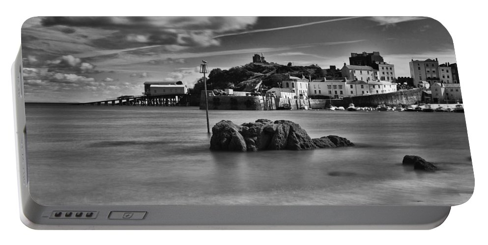Tenby Harbour Portable Battery Charger featuring the photograph Tenby Harbour 1 Mono by Steve Purnell