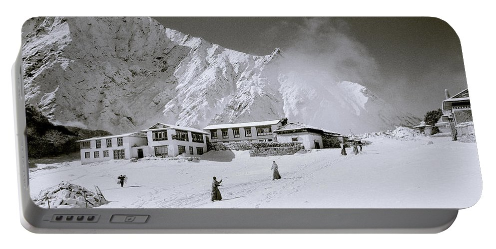 Himalaya Portable Battery Charger featuring the photograph Tengboche Monastery In The Himalayas by Shaun Higson