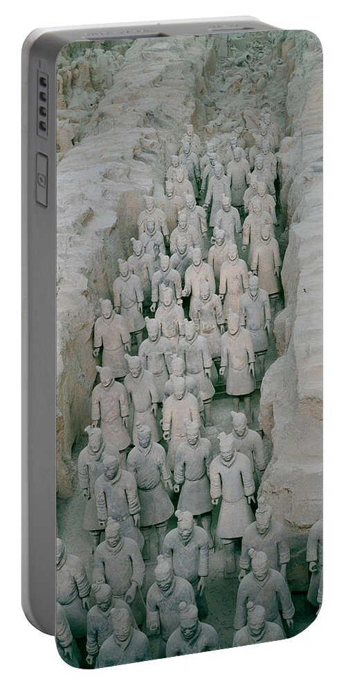 Cultural Portable Battery Charger featuring the photograph Terracotta Warriors In Xian In China by Shaun Higson