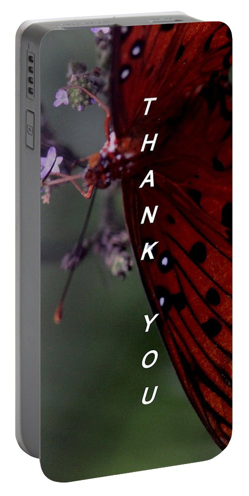 Butterfly Portable Battery Charger featuring the photograph Thank You Card - Butterfly by Travis Truelove