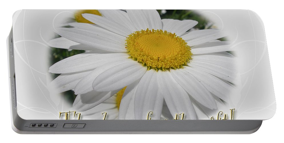 Thank You Portable Battery Charger featuring the photograph Thank You For The Gift Greeting Card - White Daisy by Mother Nature