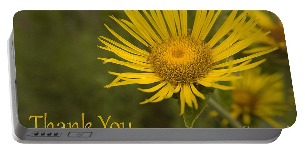 Thank You Portable Battery Charger featuring the photograph Thank You Yellow Aster by Darleen Stry