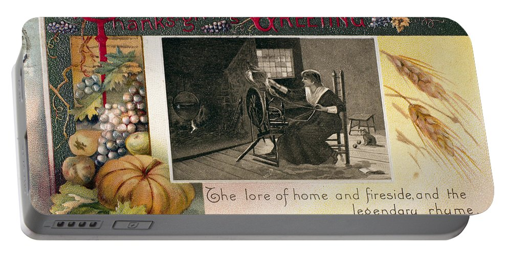 1909 Portable Battery Charger featuring the photograph Thanksgiving Card, 1909 by Granger
