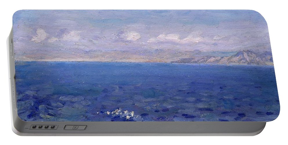 The Albanian Sea Portable Battery Charger featuring the painting The Albanian Sea by Laurits Regner Tuxen