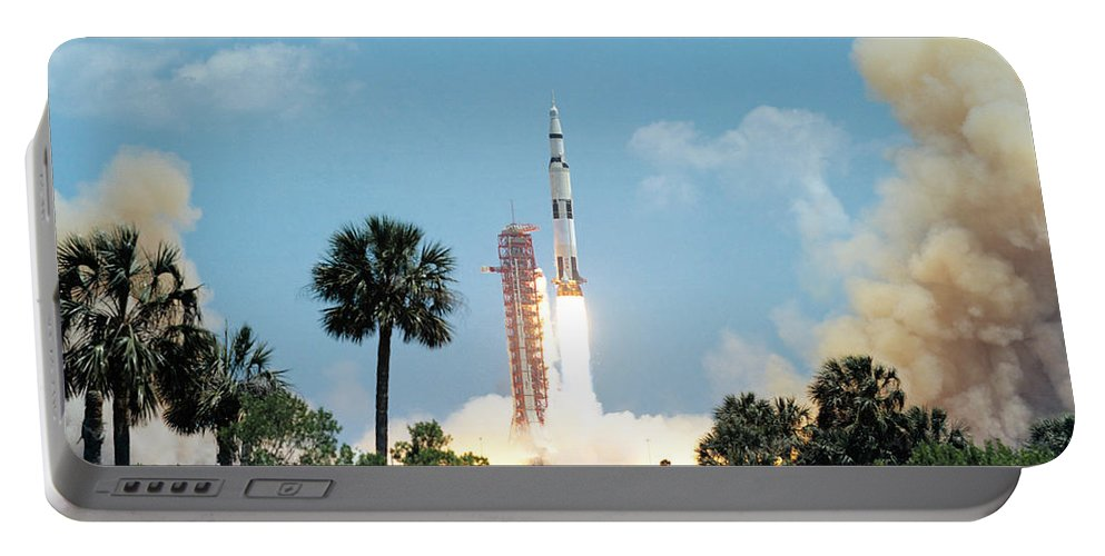 1972 Portable Battery Charger featuring the photograph The Apollo 16 Space Vehicle Is Launched by Stocktrek Images