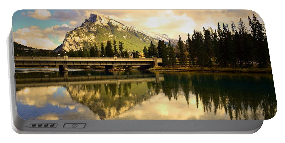 Banff Portable Battery Charger featuring the photograph The Banff Bridge Reflected by Tara Turner