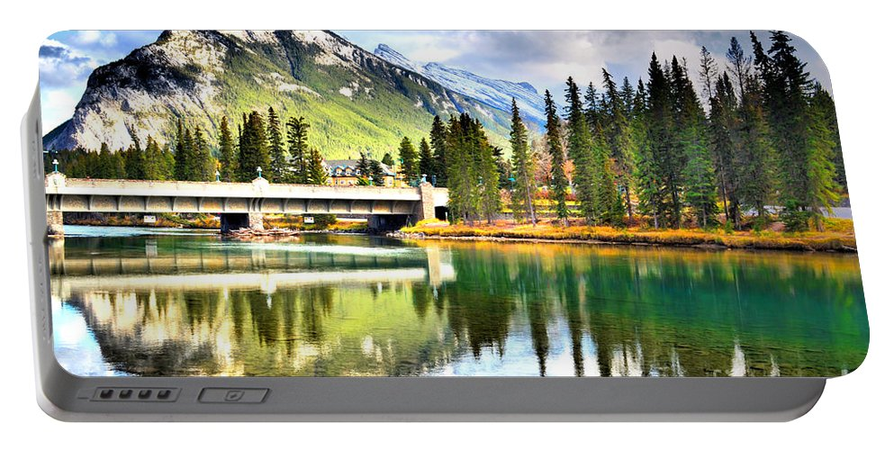 River Portable Battery Charger featuring the photograph The Banff Bridge by Tara Turner