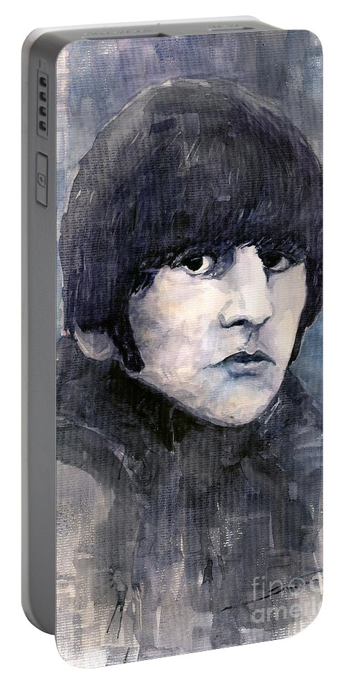 Watercolor Portable Battery Charger featuring the painting The Beatles Ringo Starr by Yuriy Shevchuk