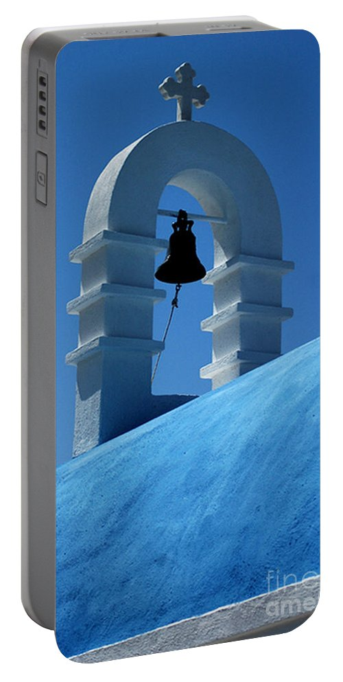 Mykonos Portable Battery Charger featuring the photograph The Bell Tower In Mykonos by Vivian Christopher