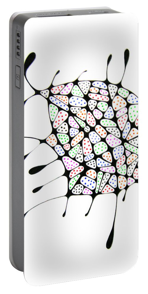 Rainbow Portable Battery Charger featuring the drawing The Belly by Leanne Karlstrom