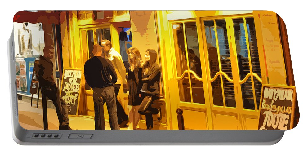 Bistro Portable Battery Charger featuring the photograph The Bistro At Night by Mary Machare