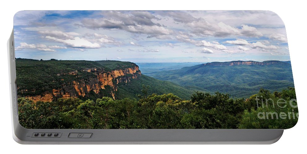 Photography Portable Battery Charger featuring the photograph The Blue Mountains - Panoramic View by Kaye Menner