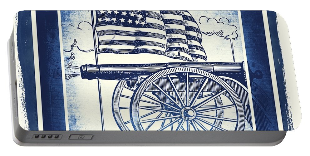 Usa Portable Battery Charger featuring the mixed media The Bombs Bursting In Air Blue by Angelina Vick