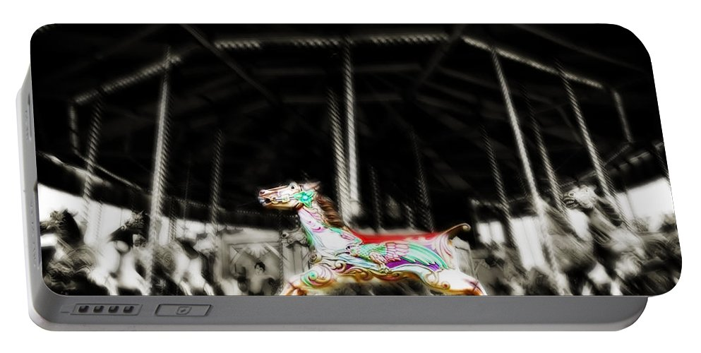 Horse Portable Battery Charger featuring the photograph The Carousel Horse by Beth Riser