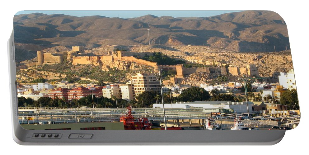 Black Sea Portable Battery Charger featuring the photograph The Castle In Almeria Spain by Phyllis Kaltenbach