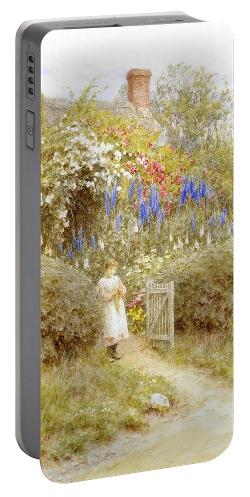 Girl; Child; Thatched; Garden; Lupins Portable Battery Charger featuring the painting The Cottage Gate by Helen Allingham
