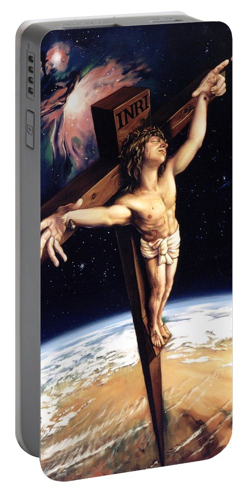 Cross Portable Battery Charger featuring the painting The Crossing by Patrick Anthony Pierson