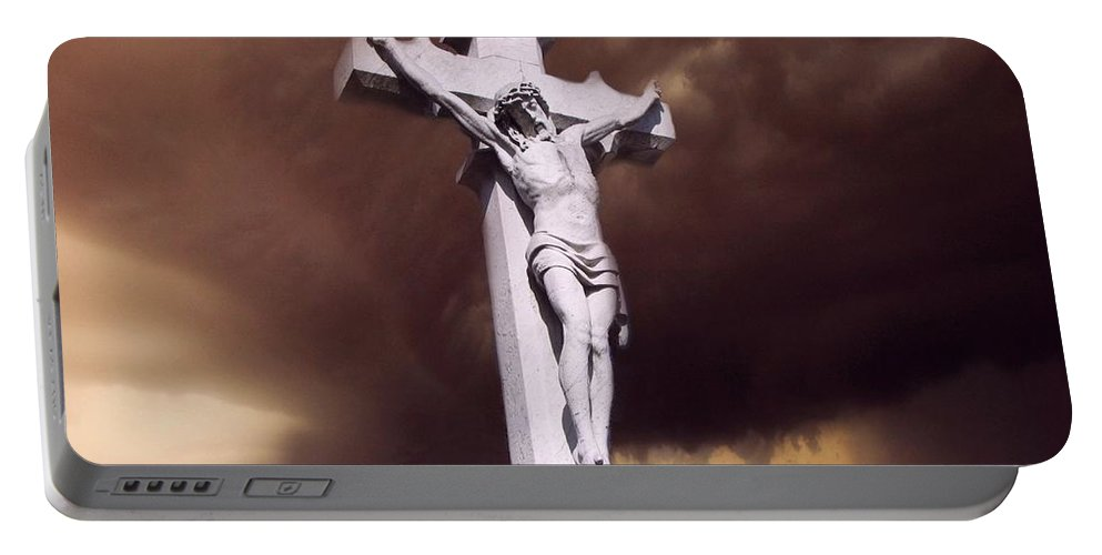 Crucifixion Portable Battery Charger featuring the photograph The Darkest Night by David Dehner