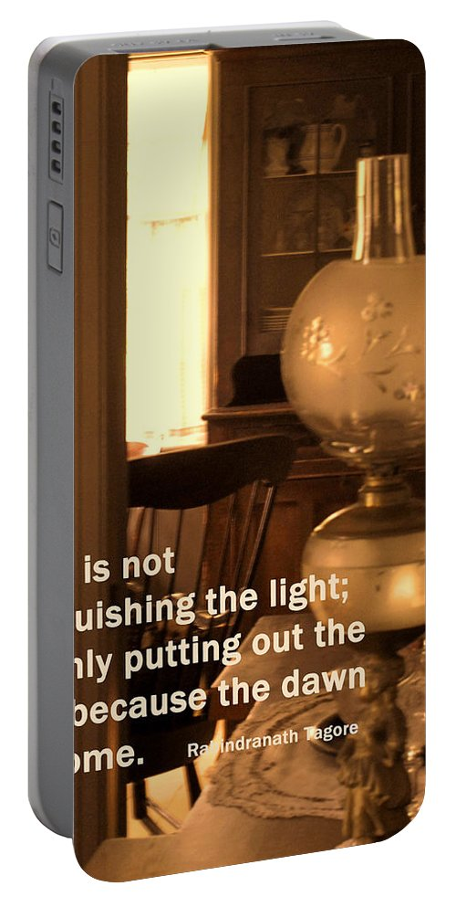Lamp Portable Battery Charger featuring the photograph The Dawn Has Come by Ian MacDonald