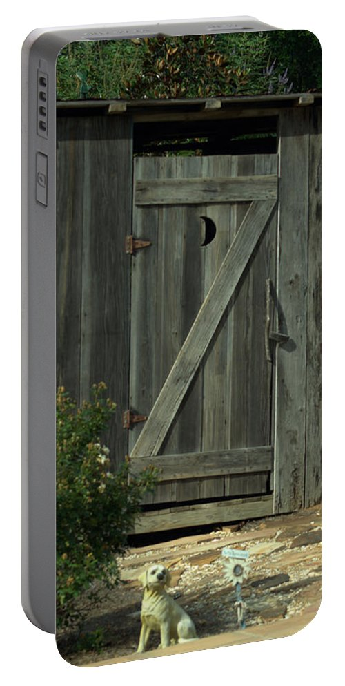 Outhouse Portable Battery Charger featuring the photograph The Double Seat Outhouse by Donna Brown