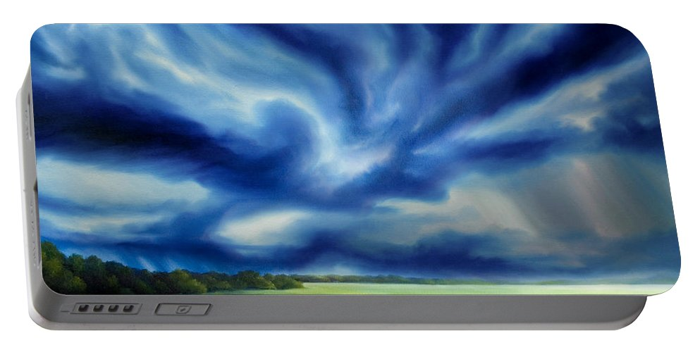Nature; Lake; Sunset; Sunrise; Serene; Forest; Trees; Water; Ripples; Clearing; Lagoon; James Christopher Hill; Jameshillgallery.com; Foliage; Sky; Realism; Oils; Moon; Moonlight; Reflection; Blue; Lapis; Storm; Dragon; Portable Battery Charger featuring the painting The Dragon Storm by James Christopher Hill