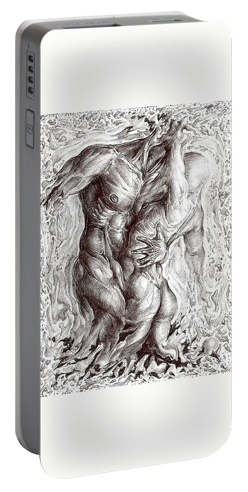 Surrealism Portable Battery Charger featuring the drawing The Eternal Vibration by Darwin Leon