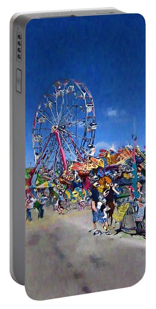 Amusement Park Portable Battery Charger featuring the photograph The Ferris Wheel At The Fair by Mario Carini