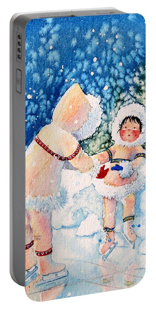 Childrens Book Illustrator Portable Battery Charger featuring the painting The Figure Skater 2 by Hanne Lore Koehler