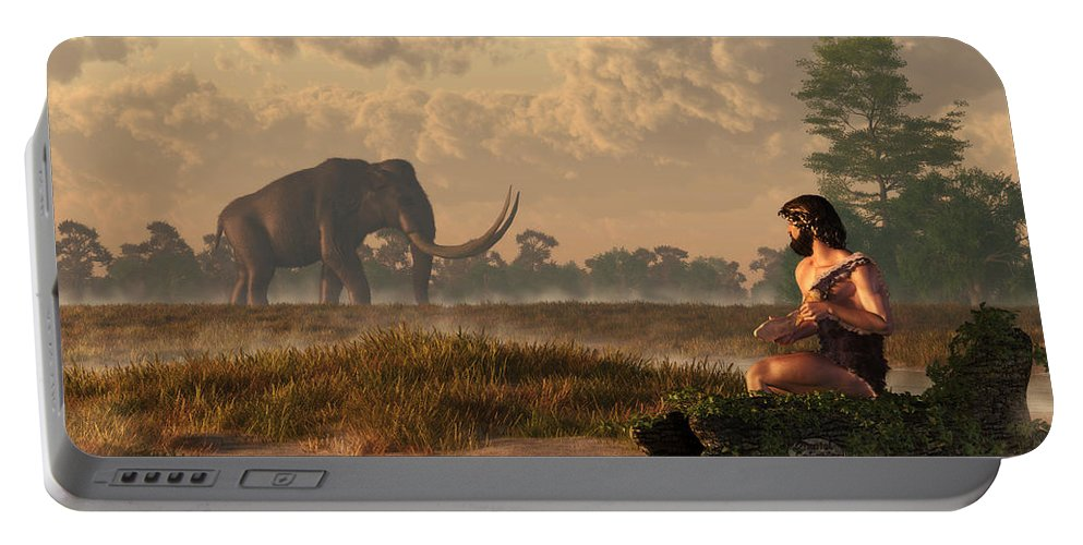 Mammoth Portable Battery Charger featuring the digital art The First American Wildlife Artist by Daniel Eskridge
