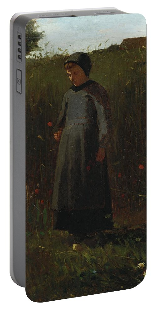 The Flowers Of The Field (oil On Canvas) By Winslow Homer (1836-1910) Female; Girl; Picking; Wild; Landscape; Rural; Poppies; Poppy; Flower Portable Battery Charger featuring the painting The Flowers Of The Field by Winslow Homer