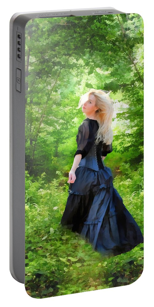 Goth Portable Battery Charger featuring the digital art The Forest Beckons by Nikki Marie Smith