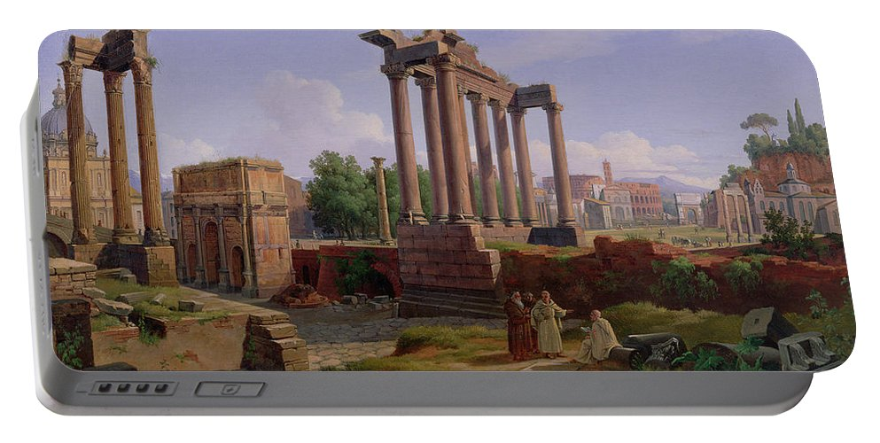 Monk; Ruin; Colosseum; Coliseum Portable Battery Charger featuring the painting The Forum Rome by Gustav Palm