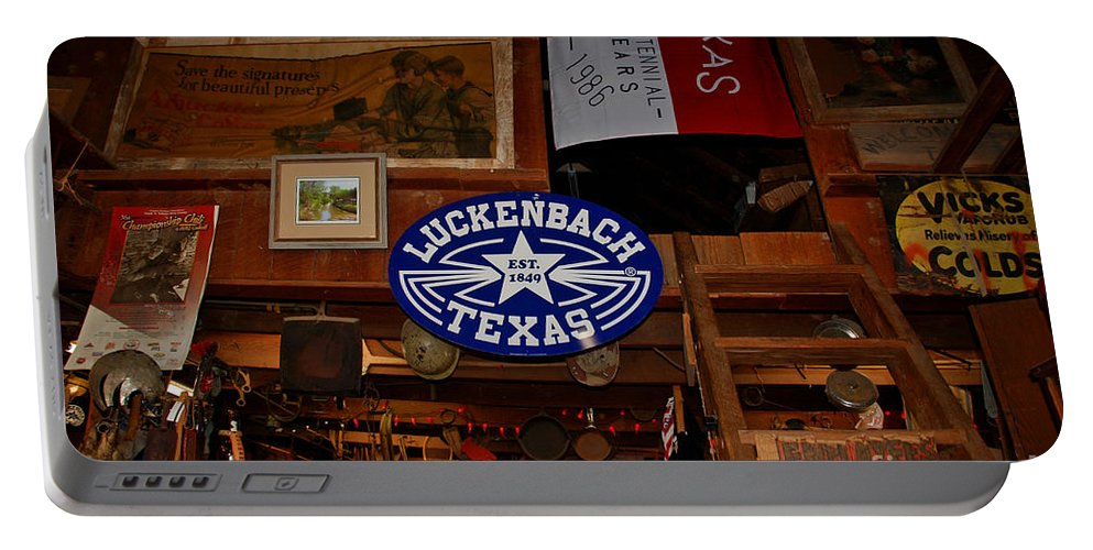 Luckenbach Portable Battery Charger featuring the photograph The General Store In Luckenbach Tx by Susanne Van Hulst
