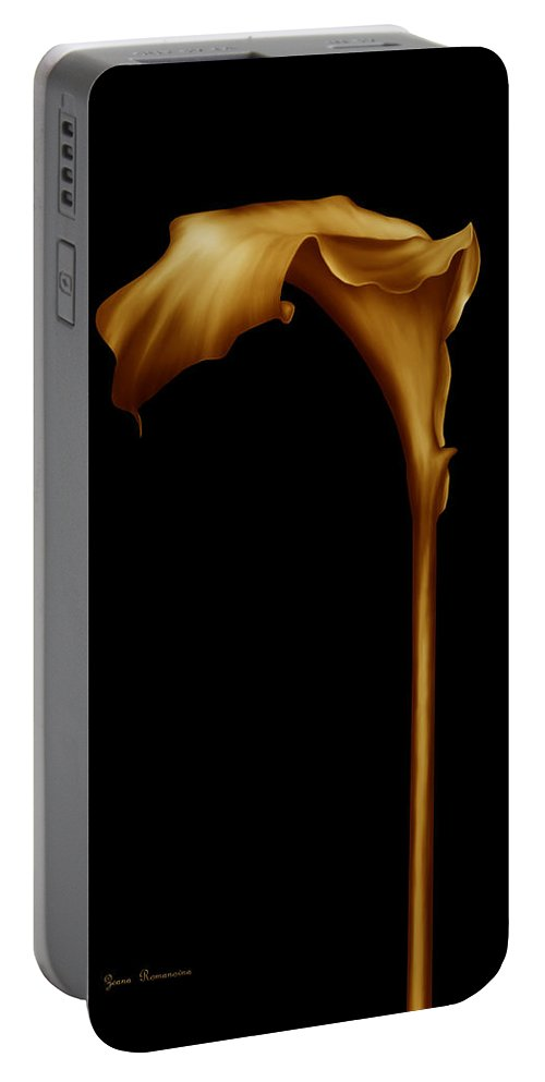 Graphic Design Portable Battery Charger featuring the digital art The Golden Calla Lilly by Georgiana Romanovna