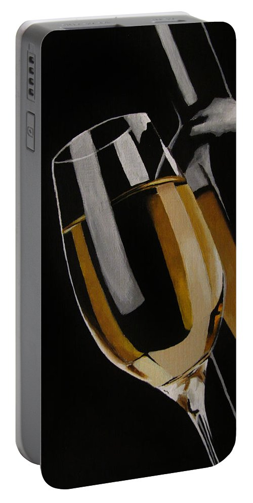 Wine Portable Battery Charger featuring the painting The Golden Years by Kayleigh Semeniuk