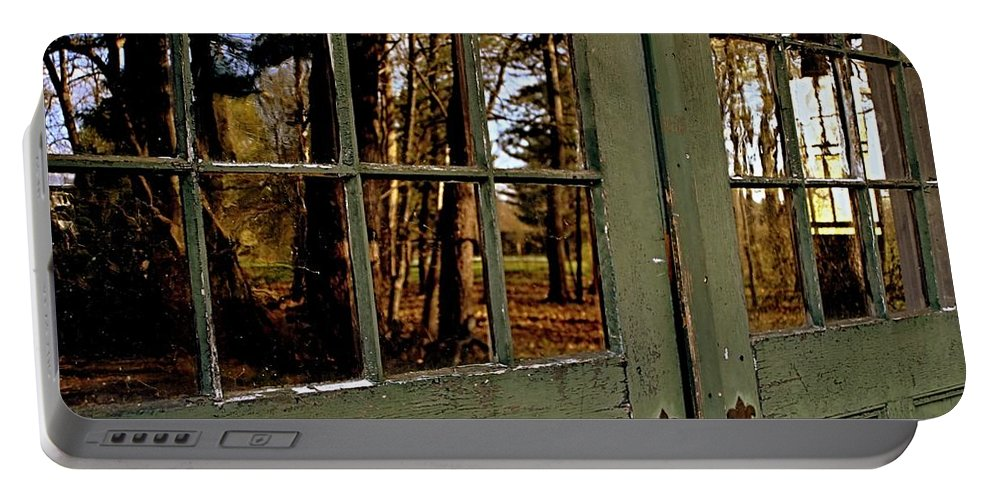 Groton School Portable Battery Charger featuring the photograph The Green Door by Marysue Ryan