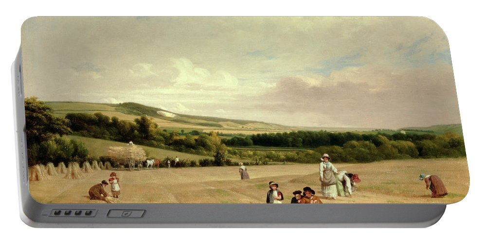 The Harvest Field Portable Battery Charger featuring the painting The Harvest Field by William Frederick Witherington
