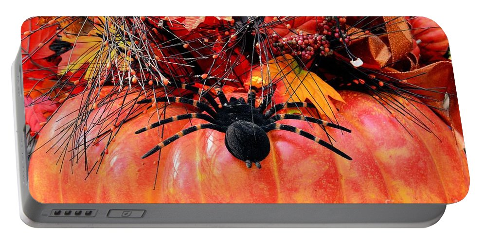 The Harvest Spider Portable Battery Charger featuring the photograph The Harvest Spider by Maria Urso